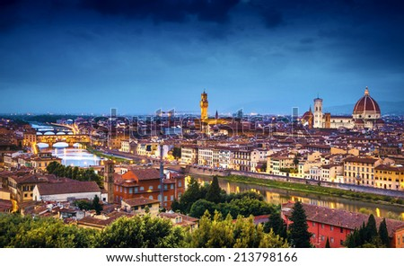 Florence at twilight from Piazzale Michelangelo (Tuscany, Italy) - stock photo