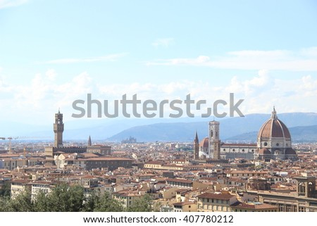 Florence- 5 August 2015. Top view of Florence city. The picture shows the dome of Florence cathedral. The design of Arnolfo di Cam bio & completed in 1436 with the dome engineered by Brunelleschi.