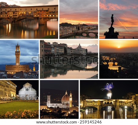 Florence by night collage - stock photo