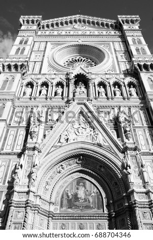 Florence cathedral. Architecture in Italy. UNESCO World Heritage Site. Black and white retro style.