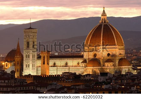 Florence cathedral at evening, Tuscany, Italy - stock photo