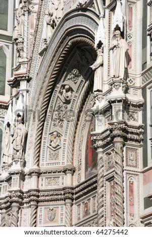 Florence cathedral facade. Architecture in Italy. UNESCO World Heritage Site.