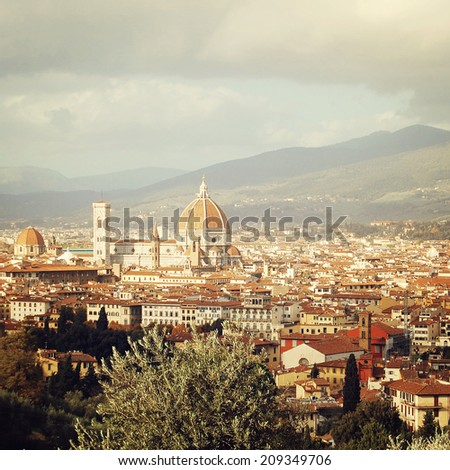 Florence Cathedral - instagram effect. The Basilica di Santa Maria del Fiore - retro photo filter. City view and Firenze Duomo - vintage colors. Florence, Tuscany, Italy. - stock photo