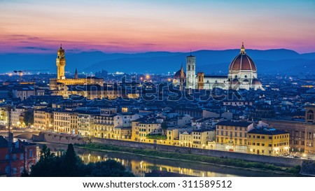 Florence city skyline at night, Florence, Italy - stock photo