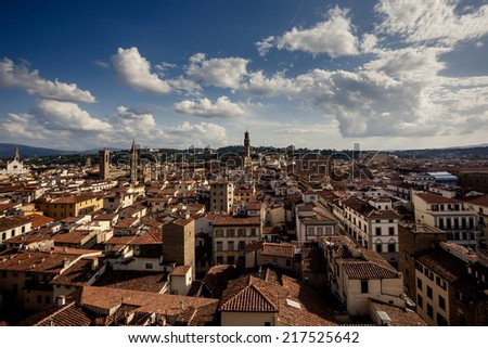 Florence cityscape aerial view at evening, Italy
