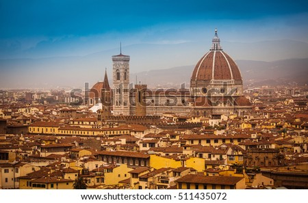 Florence cityscape with Duo-mo Santa Maria from squre Michelangelo, Italy