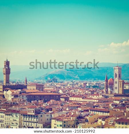 Florence Cityscape with Duomo Santa Maria Del Fiore, Instagram Effect - stock photo