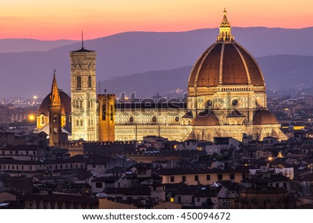 Florence duomo with light in the twilight time