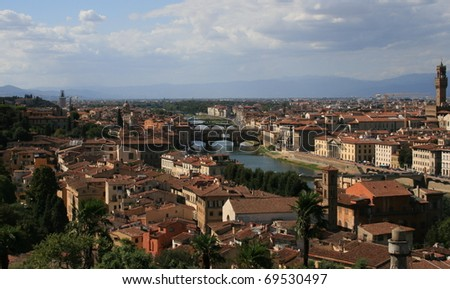 Florence Firenze Italy Ponte Vecchio houses city Arno river Tuscany