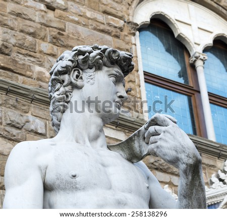 Florence (Firenze, Tuscany, Italy): statue of David di Donatello in Piazza della Signoria - stock photo