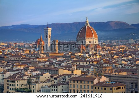 Florence. Image of Florence, Italy during summer sunrise. - stock photo
