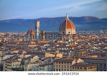 Florence. Image of Florence, Italy during summer sunrise. - stock photo