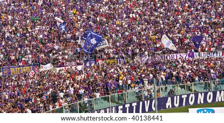 FLORENCE, IT - OCTOBER 4: Fiorentina Soccer Team's Hooligans during the match Fiorentina Lazio on October 4, 2009 in Florence, Italy.