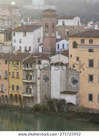 Florence, Italian medieval town - view of the city centre - stock photo