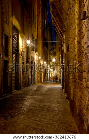 Florence Italy Alley, Street at Night - stock photo