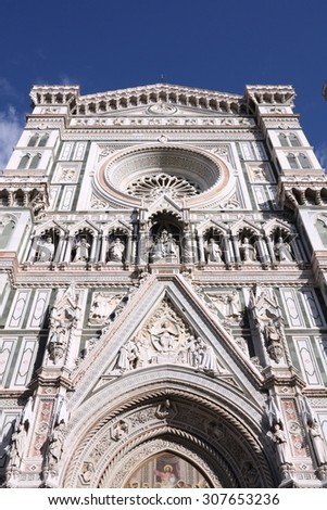 Florence, Italy. Architecture of Santa Maria del Fiore cathedral. UNESCO World Heritage Site.