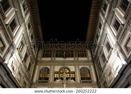 FLORENCE, ITALY - JANUARY 18, 2015: Uffizi Gallery courtyard at night, this is one of the oldest and most famous art museums in Europe.  - stock photo