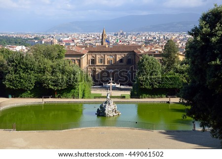 FLORENCE, ITALY - JUNE 15 2016: Boboli Gardens is a park that is located behind the Pitti Palace and were laid out for the wife of Cosimo I de' Medici.