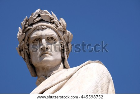 FLORENCE, ITALY - JUNE 05: Dante Alighieri statue in Santa Croce square in Florence, Italy, on June 05, 2015 - stock photo