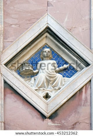 FLORENCE, ITALY - JUNE 05: Luna by Collaborator of Andrea Pisano (Master of Luna), 1337-41., Relief on Giotto Campanile of Cattedrale di Santa Maria del Fiore, Florence, Italy on June 05, 2015 - stock photo
