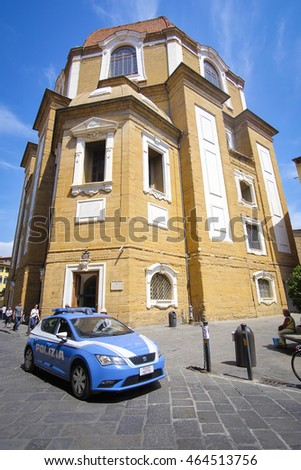 Florence, Italy, June, 25, 2016: police car in Florence, Italy
