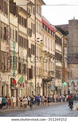 Florence, Italy-June 2, 2015. View in the  afternoon of Florence street scene with tourists and hotels