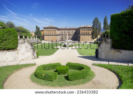 FLORENCE, ITALY - MAY 9, 2014: Boboli Gardens and Pitti Palace summer day in Florence