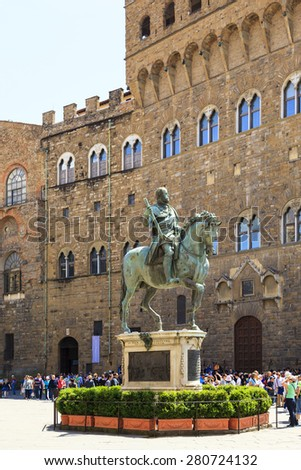 FLORENCE, ITALY MAY 25 2014. Equestrian statue of Cosimo I de' Medici in Florence, Italy. Close up on the horse head in the Piazza della Signoria.  - stock photo