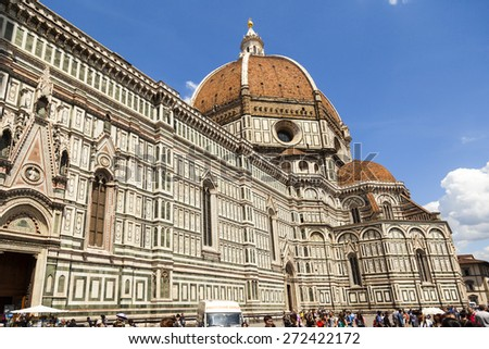 FLORENCE ITALY - MAY 20, 2014: Florence Cathedral Santa Maria dei Fiori, Dome. Thousands waiting daily to visit inside the world famous  Dome. - stock photo