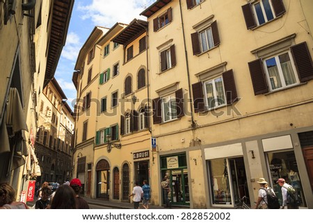 FLORENCE, ITALY - MAY 20, 2014: People on the street of the ancient Italian city Florence. Florence - the administrative center of the region of Tuscany. Population of more than 373,000 people - stock photo