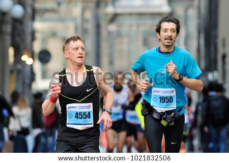 Florence, Italy - 17 May 2015: The traditional annual marathon in Florence. Is included in top twenty marathons. The length of the route is 42 km. Attended by about 6000 athletes.