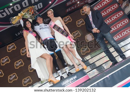 FLORENCE, ITALY - MAY 12: Wilco Kelderman wearing White Jersey after 9th stage of 2013 Giro d'Italia on May 12, 2013 in Florence, Italy