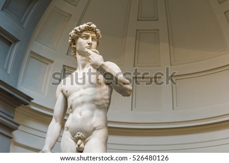 FLORENCE, ITALY - OCTOBER 26, 2016: David statue by Michelangelo exposed in the Galleria dell'Accademia di Firenze. It moved from the Piazza della Signoria to the museum in 1873 to be protected.