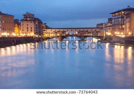Florence, Italy - Ponte Vecchio bridge by night