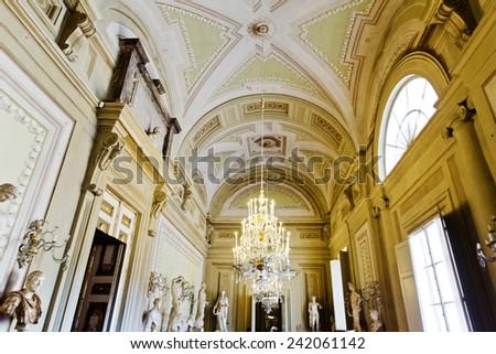 FLORENCE, ITALY - SEPTEMBER 2, 2014: Frescoes and statues in Palatina Gallery, Palazzo Pitti (Pitti Palace), a Renaissance palace.  - stock photo