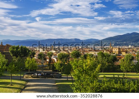 FLORENCE, ITALY, SEPTEMBER 19, 2015 : Overview of the city of Florence in the garden of Boboli. - stock photo