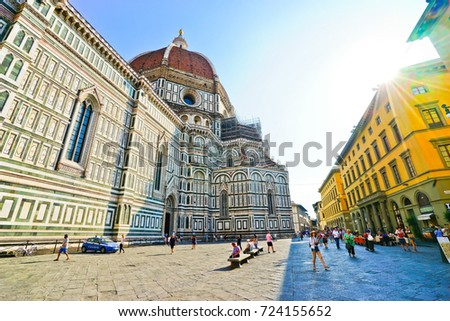 Florence, Italy - September 12, 2016 : View of the Florence Cathedral in Florence on a sunny day on September 12, 2016.
