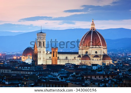 Florence, Italy skyline at sunset. Cathedral of Saint Mary of the Flowers. Italian Cattedrale di Santa Maria del Fiore, Firenze. Vintage - stock photo