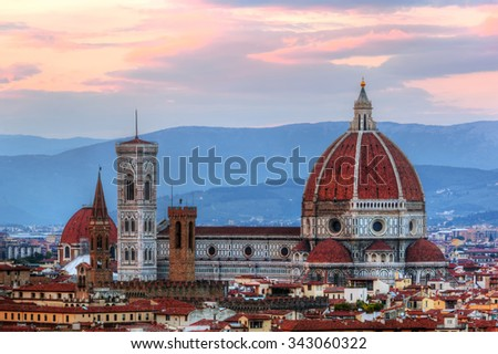 Florence, Italy skyline at sunset. Cathedral of Saint Mary of the Flowers. Italian Cattedrale di Santa Maria del Fiore, Firenze  - stock photo