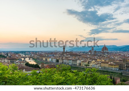 Florence, Italy - The capital of Renaissance's art and Tuscany region. Here: cityscape from Piazzale Michelangelo