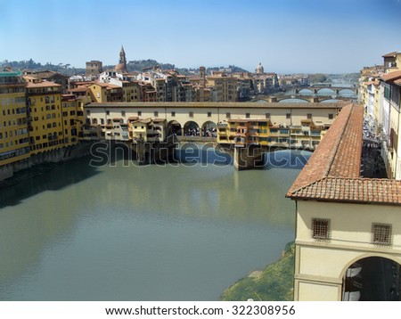 Florence, Italy, the famous Ponte Vecchio over Arno River  - stock photo