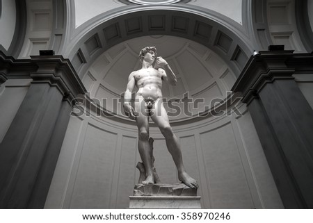 FLORENCE-January 5: Tourists look at David by Michelangelo on January 5 ,2016 in Galleria dell'Accademia in Florence. Italy. - stock photo