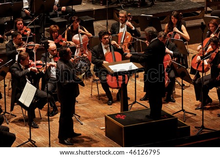 FLORENCE - JANUARY 16: Zubin Mehta conducting Maggio Musicale Fiorentino Orchestra January 16, 2010 in Florence, Italy - stock photo