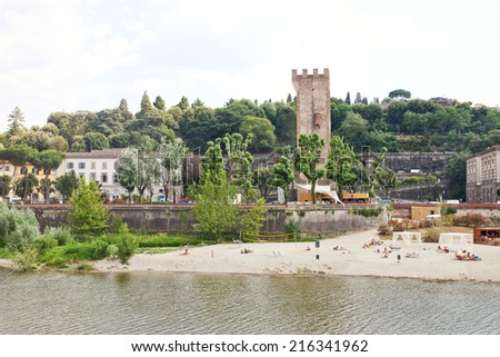 Florence landscape in Arno river - stock photo