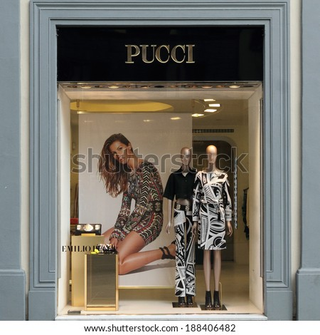 FLORENCE - March 21: Emilio Pucci boutique in Florence on  luxury Tornabuoni street on March, 21,2014. Emilio Pucci  and his  company are synonymous with geometric prints in a kaleidoscope of colors. - stock photo