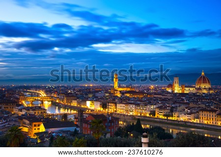 Florence or Firenze sunset aerial cityscape. Panorama view from Michelangelo park square. From left Palazzo Vecchio and Duomo Cathedral. Italy - stock photo
