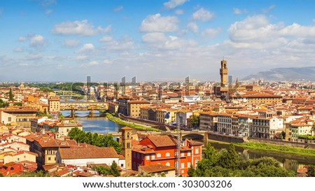 Florence, Ponte Vecchio and Palazzo Vecchio from Piazzale Michelangelo (Tuscany, Italy) - stock photo