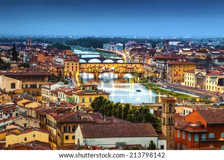 Florence, Ponte Vecchio arch bridge at twilight from Piazzale Michelangelo (Tuscany, Italy) - stock photo