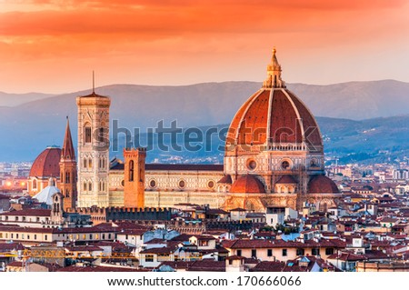 Florence, sunset skyline view. - stock photo