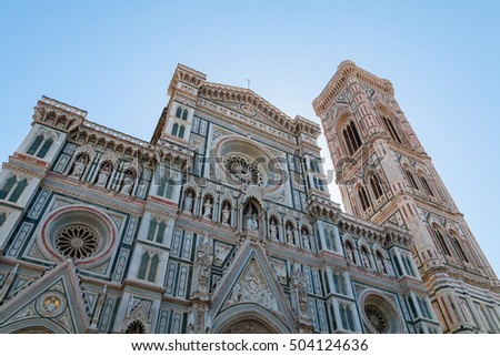 Florence town and the Cathedral Santa Maria del Fiore Dome in Tuscany, Italy